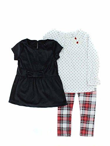 Carter's Girls' Toddler 3-Piece Playwear Set, Black/Red Plaid, 4T