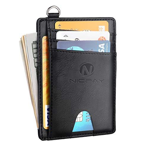 Slim Minimalist Front Pocket RFID Blocking Wallets, Credit Card Holder for Men Women with D-Shackle