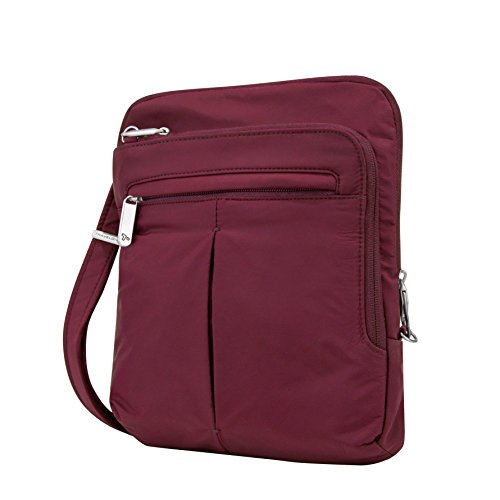 Travelon Women's Anti-Theft Classic Light Slim Bag Shoulder, Berry, One Size