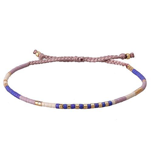 KELITCH Crystal Blue Mix Beaded Wrap Bracelet New Bangles Jewelry (Purple)