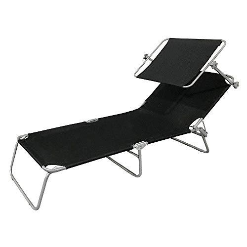 🥇 HENGMEI Tumbona de Playa Plegable Tumbona Inclinable Tumbona de Aluminio 188 x56 x 27 cm