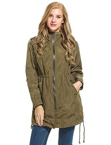 imperméable à veste Armee vent veste pour capuche femmes Zip grün classique Casual en à Veste duvet Parka Coupe femmes longue capuche nUqwTx4z8f