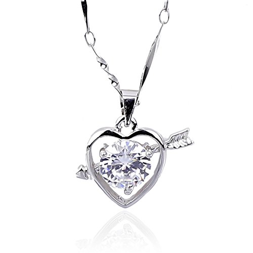 NickAngelo's Love Heart Cupid Arrow 18K White Plated Pendant Necklace Elegant Fashion (white-gold-plated-copper, cubic-zirconia) ()