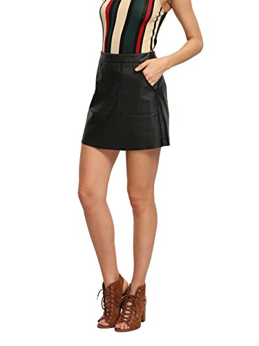 OEUVRE Women's Sexy High Waist PU Leather Mini Skirt With Pocket