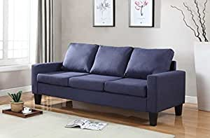 "Home Life 3 Person Contemporary Upholstered Linen Sofa, 77"" Wide, Dark Blue"