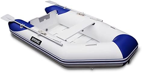 Brine Marine Inflatable Boat Roll Up Dinghy Tender 8 feet - USCG Rated 3  Person 6 HP Motor  Compact Storage and Fast Setup  Pump & Accessories