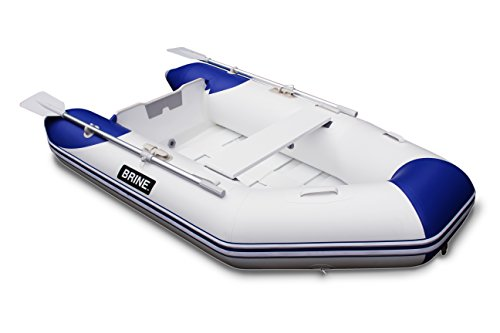 Brine Marine Inflatable Boat Roll Up Dinghy Tender 8 feet - USCG Rated 3 Person 6 HP Motor. Compact Storage and Fast Setup. Pump & Accessories Included.