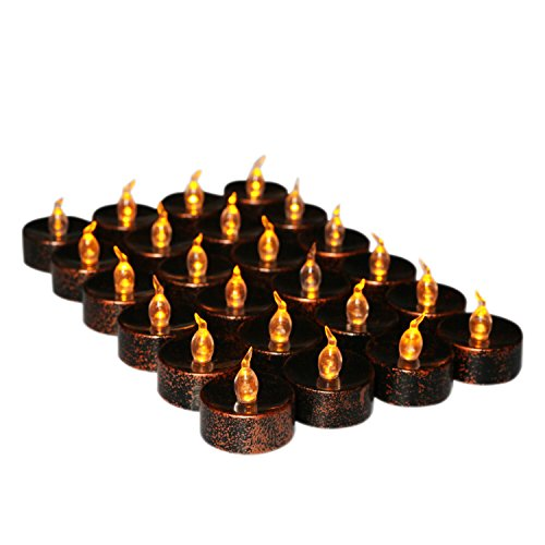 Youngerbaby 24 Pieces Bronze and Black Battery-Powered Flameless Candles, Flickering Led Tea Lights Candle, Flashing Led Candles, Battery Operated Candles for Birthday Wedding Party