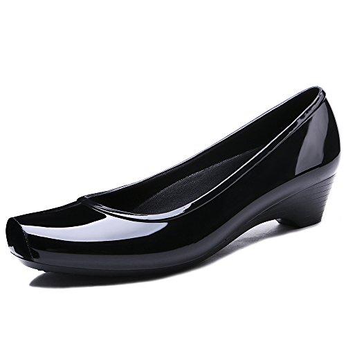 TONGPU Women's Rain Shoes Low Heel Rain Footwear Garden Shoes US7 Black