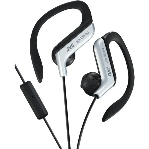Silver Sportclip (JVCHAEBR80S - JVC HAEBR80S Sport-Clip In-Ear Ear-Clip Headphones with Microphone Remote (Silver))