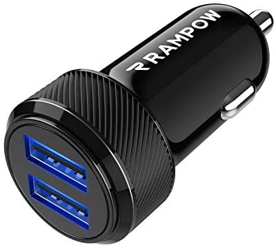 RAMPOW Caricabatterie Auto USB [ 24W/4.8A ] 2 Porte,Caricatore Auto USB, Caricabatteria Auto USB Universale Carica Batteria Compatibile con iPhoneX/8/7/6,iPad, Samsung S9/S8/S7, Huawei,Honor – Nero