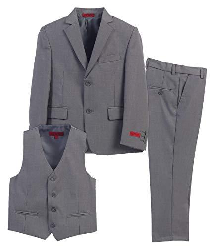 Gioberti Boy's Formal 3 Piece Suit Set, Gray, Size 12