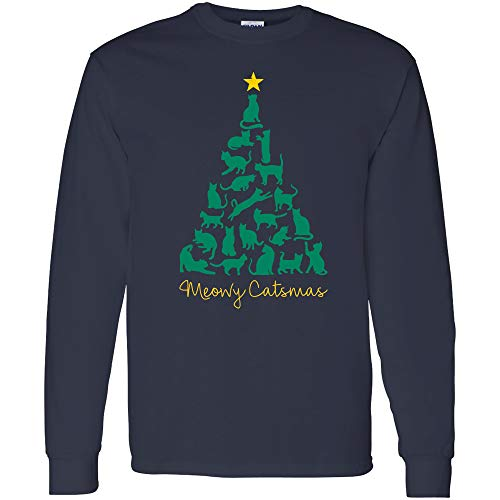 - Meowy Catsmas - Cute Christmas Tree Cat Kitten Holiday Long Sleeve T Shirt - X-Large - Navy