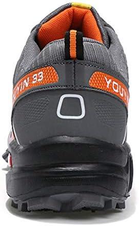 メンズレザーハイキングシューズ軽量低トレイルアスレチックスキャンプ登山トレーニングスポーツスニーカーウォーキングアウトドアシューズをウォーキング (Color : Gray orange, Size : 40)