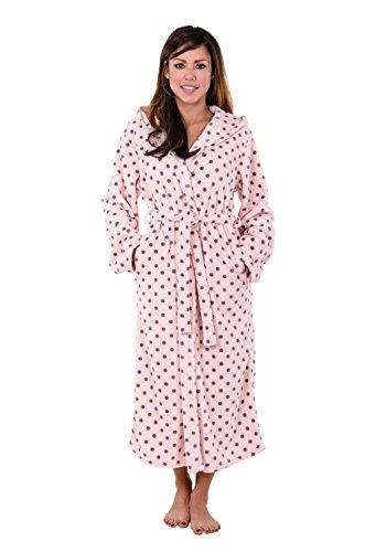 Hoodie Robe Hooded Robe Spa Bathrobe Hoody Robe Long Robe … (Large, Pink Polka Dot) by Love This Robe (Image #4)'