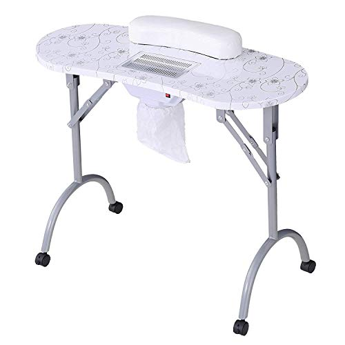 "Manicure Nail Table-SUNCOO Portable Folding Nail Station Manicure Tech Desk Spa Beauty Salon With Rolling Wheels Fan Carry Bag Sponge Wrist Cushion 29.5"" Height White"