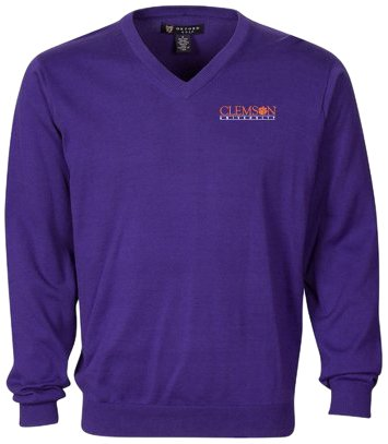 Oxford Golf NCAA Clemson Tigers Men's Devon V-Neck Sweater (Grape, XXX-Large) by Oxford