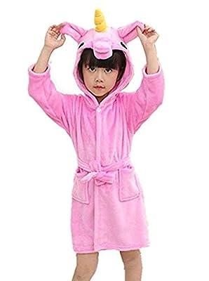 Women's Sleepwear Kid's Unicorn Hooded Bathrobe Children Animal Pajamas Sleep Robe for Boys Girls