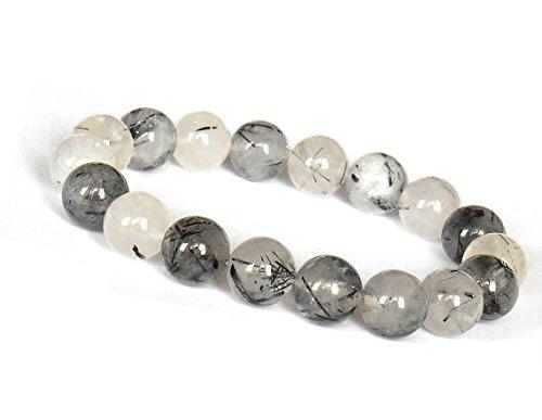 JP_Beads 10mm Black Tourmalinated Quartz Bracelet,Tourmalated Quartz Bracelet,Quartz Mala, Black Rutilated Quartz Bracelet,Tourmaline Quartz Bracelet