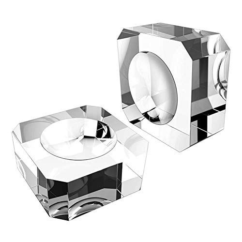 fengshuisale A Pair 35mm Square Crystal Ball Stand, Clear Crystal Base Display 60mm to 90mm Crystal Ball W3932