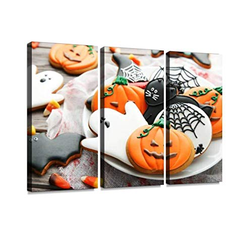 BELISIIS Halloween Gingerbread Cookies in Plate on Wooden Table Wall Artwork Exclusive Photography Vintage Abstract Paintings Print on Canvas Home Decor Wall Art 3 Panels Framed Ready to Hang]()