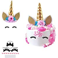 Giga Gud Unicorn Cake Topper, Gold Unicorn Horn,Ears and Eyelashes Party Cake Decoration Value Set for Unicorn Party Decoration for Baby Shower, Wedding and Birthday Party (Unicorn Flower )
