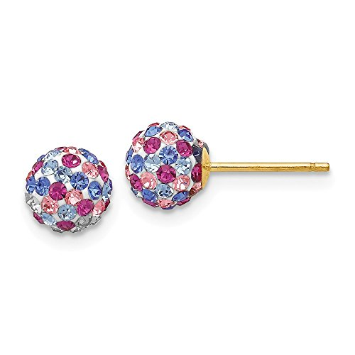 14k Yellow Gold Blue Pink Multi Crystal 6mm Post Stud Earrings Ball Button Fine Jewelry Gifts For Women For Her