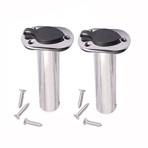 M-ARINE BABY 2PCS Flush Mounting Fishing Rod Holders - 90 Degree Stainless Steel with Rubber Cap, Liner and Gasket (Screws Included) - Mount Rod Holder Gunnel