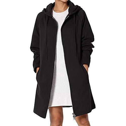 Warm Zipper Open Hoodies Sweatshirt Long Jacket Outwear Black ()
