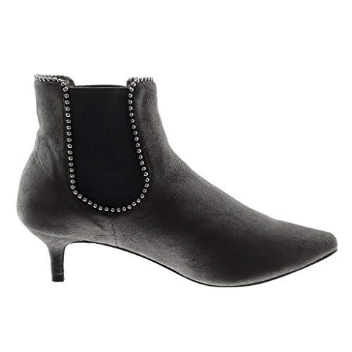 Donna Low Moda Cm 5 on Slip Stivaletti Perla Elastico Borchiati Scarponcini Chelsea Angkorly Gattino Scarpe Tacco Grigio Boots zaxYwY