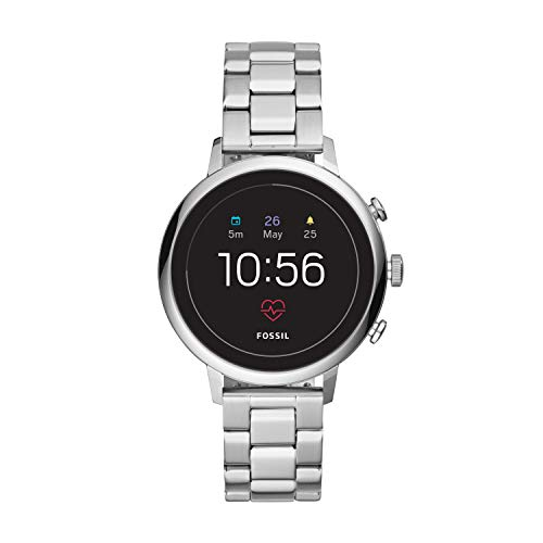 Fossil Women's Gen 4 Venture HR Stainless Steel Touchscreen Smartwatch, Color: Silver (Model: FTW6017)