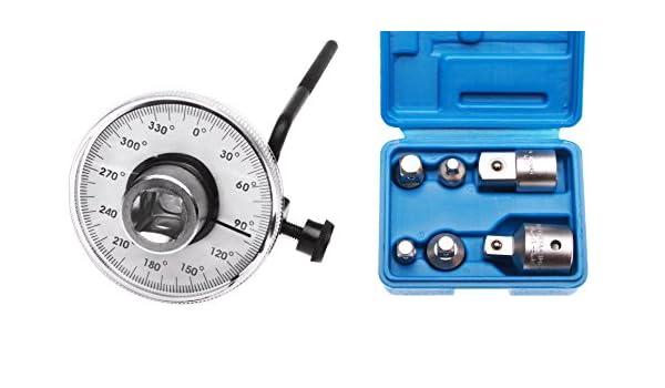 Ángulo de par Medidor + 6 piezas nogal adaptador para carraca: Amazon.es: Bricolaje y herramientas
