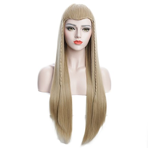 Easy Tauriel Costume (Karlery 27 inches Unisex Baby Long Straight Fluffy Blonde Hair Braid Halloween Cosplay Wig)