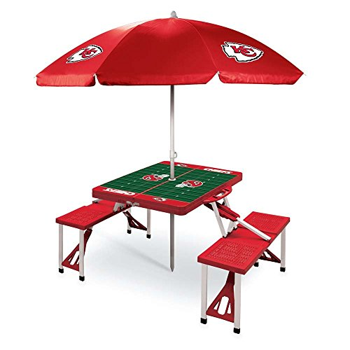 NFL Kansas City Chiefs Picnic Table Sport with Umbrella Digital Print, One Size, Red by PICNIC TIME