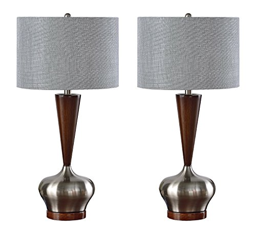 Kings Brand Brushed Nickel / Walnut Base With Silver Fabric Shade Table Lamps, Set of 2 (Walnut Nickel Table Lamp)