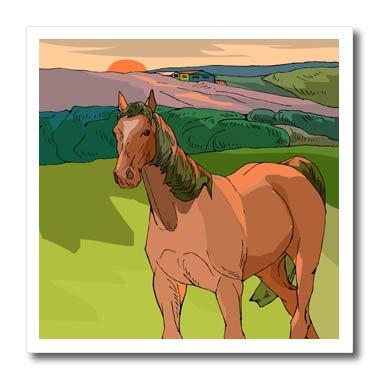 3dRose TDSwhite - Horse Equine Illustrations - Sunset Horse Scene - 8x8 Iron on Heat Transfer for White Material (ht_285619_1)