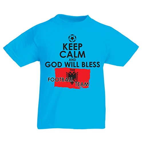 fan products of lepni.me N4468K Kids T-Shirt Keep Calm and God Will Bless The Albanian National Football Team (14-15 Years Light Blue Multicolor)