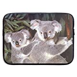 Baby Koala Bear Cub with Mother Wildlife Animal 13-15 Inch Laptop Sleeve Bag Portable Dual Zipper Case Cover Pouch Holder Pocket Tablet Bag,Water Resistant,Black