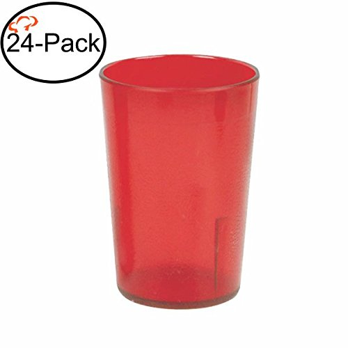 Tiger Chef 8-Ounce, 24-Pack Red Stackable Restaurant Beverage Cup Plastic Tumbler Set, BPA-Free