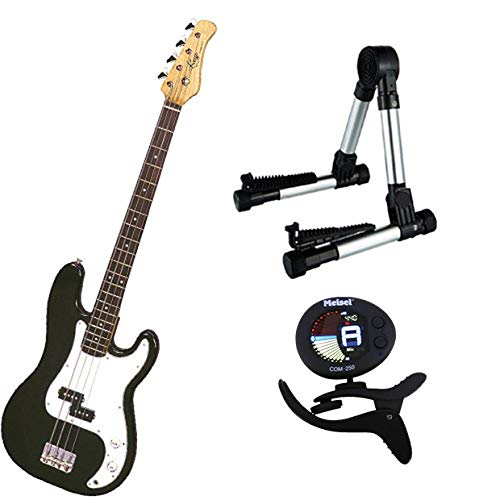(It's All About the Bass Pack-Black Kay Electric Bass Guitar Medium Scale w/Meisel COM-80 Tuner & Meisel Silver Stand)