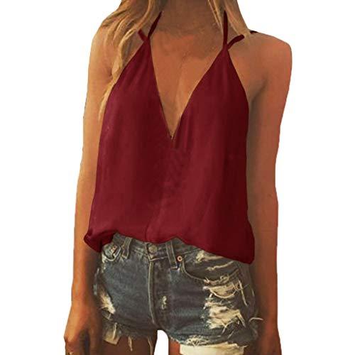 YEZIJIN Women Sexy Sleeveless V Neck Solid Spaghetti Strap T Shirts Blouse Tops 2019 New Sexy T-Shirt -