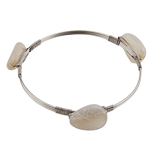 Wire Wrapped Stackable 3 Stone Bangle (Silver and white) (Wrapped Bracelet Wire Silver)