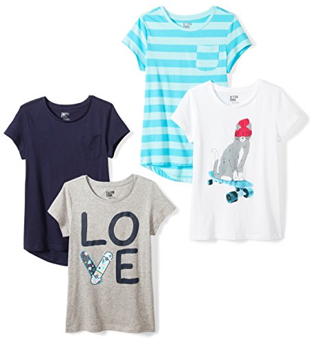 Spotted Zebra Big Girls' 4-Pack Short-Sleeve T-Shirts, Skate, Medium (8)]()