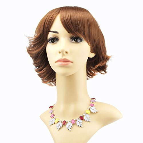Trend Blonde Daily use 24cm Short Curly with Bangs Wig with a adjustable Buckle+Wig Cap+Wig Comb(Blonde Brown 5216)Like Real human hair