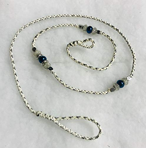 White and Silver 4 ft Kangaroo Leather Show Loop Lead with beads