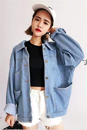 Bavero Outerwear Blau Jeans Prodotto Plus Donna Giacca Betrothales Elegante Autunno VSMzpqUG