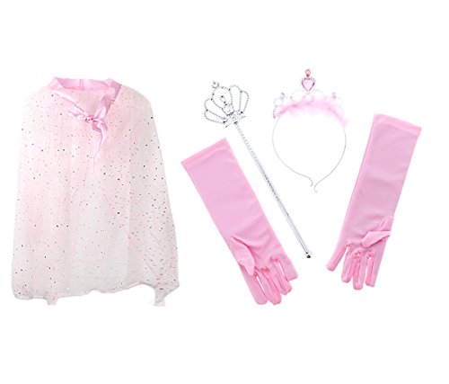 Mozlly Value Pack - Pink Princess Twinkle Star Costume Cape AND Pink Royal Princess Marabou Tiara Wand and Gloves Set - Pretend Play Dress Up - (2 Items)]()
