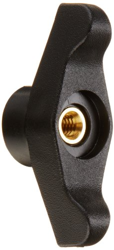 DimcoGray Black Thermoplastic Wingnut Knob Female, Thru Hole Brass Insert: 1/4-20