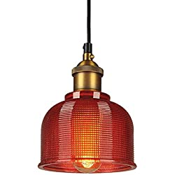 ZLHW Industrial Vintage 15cm Glass Lampshade Pendant Light E27 Retro Loft Ceiling Lamp Suspension Lighting (Color : Red)
