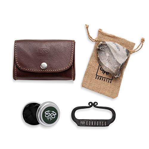 KonvoySG Flint and Steel Kit. Fire Striker, English Flint Stone & Char Cloth Traditional Hand Forged Fire Starter with a Leather Gift Pouch and Emergency Tinder Jute Bag (Cognac)